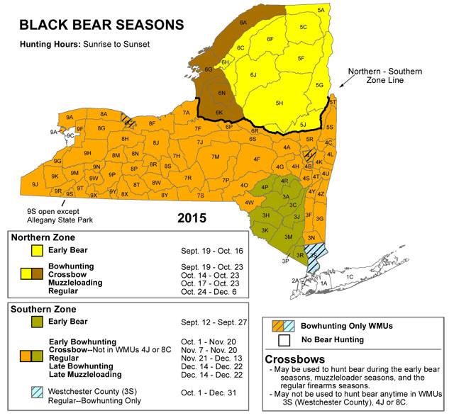 A map of the Black Bear Hunting seasons in New York State for the 2015-2016 season.