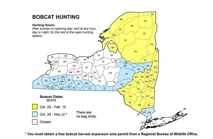 Map of New York State showing bobcat hunting season for different areas