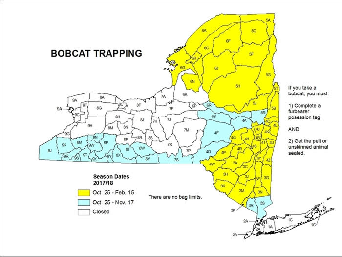 New York State map showing trapping season for different areas for bobcats