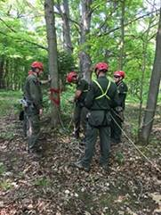 Group of Forest Rangers in the woods practicing rope rescue techniques