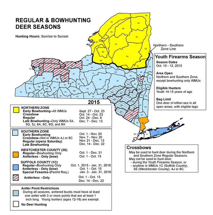 NYS color-coded map of regular bowhunting deer seasons