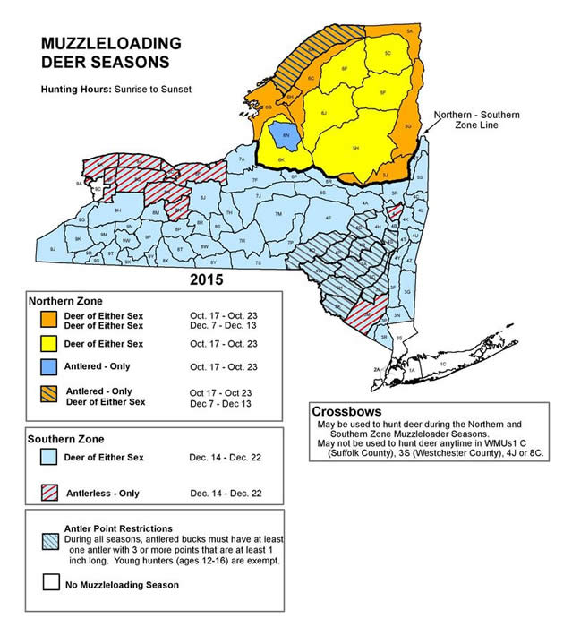 Map of New York depicting hunting areas and season dates for the muzzleloading deer season.